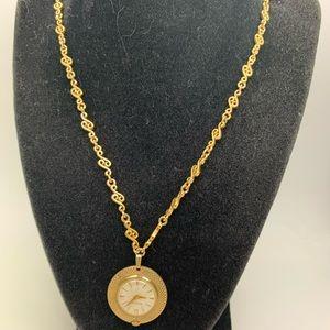 """Antique Bulova 17J Watch Pendant Necklace 30"""" Long"""